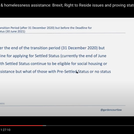 Eligibility for housing and homelessness assistance: Brexit, Right to Reside issues and proving status